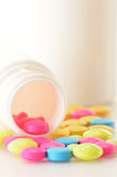 Variety of drug pills and dietary supplements Royalty Free Stock Images