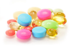 Variety of drug pills and dietary supplements Royalty Free Stock Image