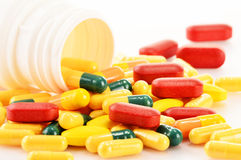 Variety of drug pills and dietary supplements. Composition with variety of drug pills and dietary supplements Stock Photography