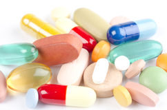 Variety of drug pills and vitamins Royalty Free Stock Image