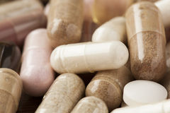 Variety of Drugs, Pills, Supplements, and Medication Royalty Free Stock Photos