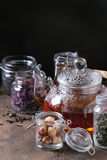 Variety of dry tea with teapot Royalty Free Stock Image