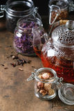Variety of dry tea with teapot Stock Photo