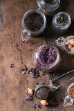 Variety of dry tea with teapot Royalty Free Stock Images