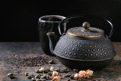 Variety of dry tea with teapot Royalty Free Stock Photos