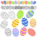 Variety of Easter Eggs Clip Art. A clip art illustration featuring a variety of Easter eggs with various colourful patterns in coloured and black and white Royalty Free Stock Image