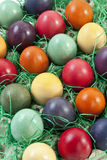 Variety of Easter eggs in egg carton, elevated view Royalty Free Stock Photography