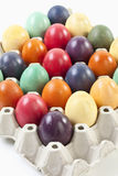 Variety of Easter eggs in egg carton, elevated view Stock Image