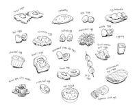 Variety egg menu hand drawing illustration Royalty Free Stock Photos