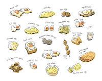 Variety egg menu hand drawing illustration Royalty Free Stock Photos