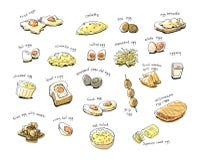 Variety egg menu hand drawing illustration. Variety internation egg menu hand drawing illustration Royalty Free Stock Photos