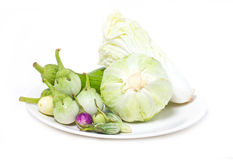 Variety Eggplant, Sponge Gourd And Cabbage. Royalty Free Stock Photography