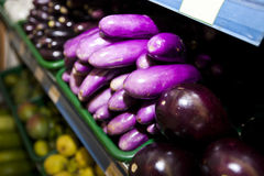 Variety of eggplants on display in grocery store Stock Photos