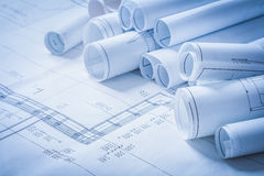 Variety of engineering construction drawings Stock Image