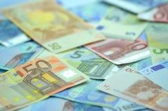 Variety of euro banknotes Stock Photo