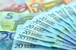 Variety of euro banknotes Royalty Free Stock Image