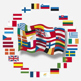 Variety of european flags, close up Royalty Free Stock Images