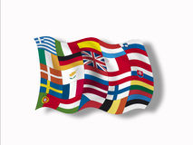Variety of european flags, close up Royalty Free Stock Image