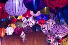 A variety of evening lanterns. Hoian City. 2018 soon new year Asian. a lot of different lanterns, different colors and sizes Stock Photo
