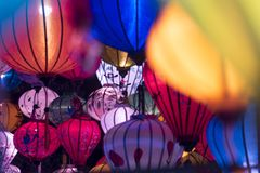 A variety of evening lanterns. Hoian City. 2018 soon new year Asian. a lot of different lanterns, different colors and sizes stock photos