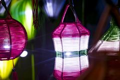 A variety of evening lanterns. Hoian City. 2018 soon new year Asian. a lot of different lanterns, different colors and sizes Royalty Free Stock Image