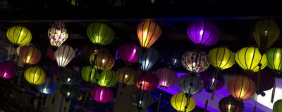 A variety of evening lanterns. Hoian City. 2018 soon new year Asian. a lot of different lanterns, different colors and sizes Stock Image