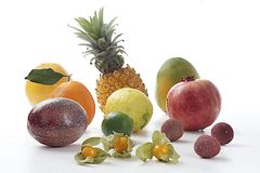Variety of exotic fruits Stock Image