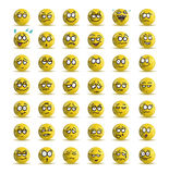 Variety expression of yellow smile icon avatar. Illustrations of variety expression of yellow smile icon avatar cartoon over isolated white background Royalty Free Stock Image