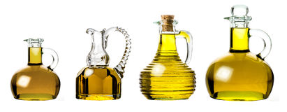 Variety of extra virgin  olive oils isolated Royalty Free Stock Photo