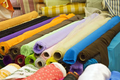 Variety of fabric color samples Stock Photos