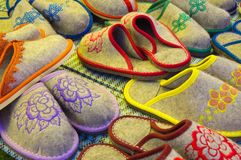 Variety of felted slippers Stock Images