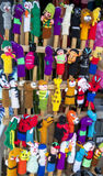 A variety of finger puppets for sale at the market in Peguche in Ecuador. Royalty Free Stock Image