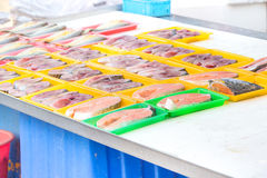 Variety of fish. In a market royalty free stock photos