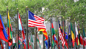 Variety of Flags. A number of various flags with an American flag in the middle Royalty Free Stock Photo