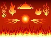 Variety of flames. Illustration of variety of fire flame patterns Royalty Free Stock Photography