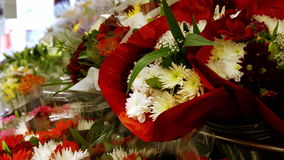 Variety of flower bouquet in flower section. At supermarket stock footage