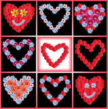 Variety of flowerhearts - collage Stock Image