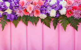Variety flowers on pink fabric  background. Stock Image