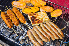 Variety of food on the bbq Stock Photos