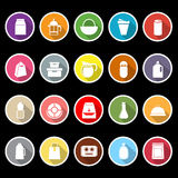 Variety food package flat icons with long shadow Royalty Free Stock Images