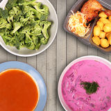 Variety of food on the table Stock Photos