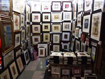 A variety of framed artwork for sale Royalty Free Stock Image