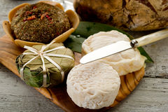 Variety french cheese. Variety of french cheese over cheeseboard Stock Image