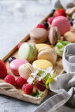 Variety of french dessert macaroons Royalty Free Stock Images