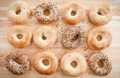 Variety of fresh bagels Stock Photography