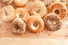 Variety of fresh bagels Royalty Free Stock Photography