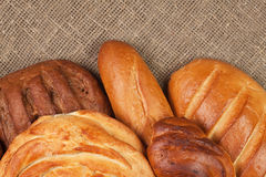Variety of fresh bread over sackcloth Royalty Free Stock Image