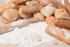 Variety of fresh bread and rolls Stock Image