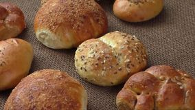 Variety of fresh bread stock video