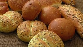 Variety of fresh bread stock video footage